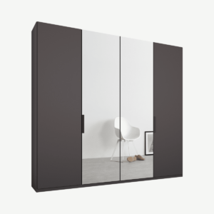 Caren vierdeurs kledingkast met handvatten, 200 cm, grafietgrijs frame, mat grafietgrijs en spiegeldeuren, klassiek interieur