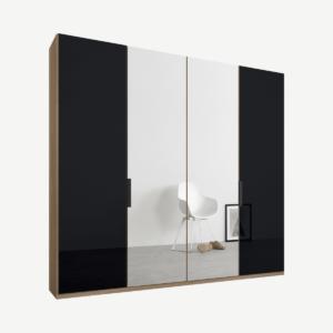 Caren vierdeurs kledingkast met handvatten, 200 cm, eiken frame, basaltgrijs glas en spiegeldeuren, premium interieur